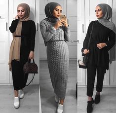 Hijab Outfit, Dress Outfits, Hijab Fashion, Fashion Dresses, Modern Hijab, Dress With Boots, Tight Dresses, Normcore, Hijabs