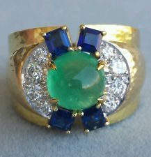 David Webb Colombian Emerald Diamond Sapphire gold platinum hammered ring