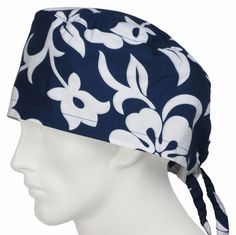 XL Surgical Caps Lava Flower Navy 100% Cotton USA Made from Imported Fabric. In Stock Ships Daily Worldwide surgicalcaps.com