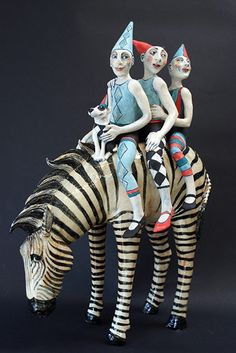 Ceramics by Marie Prett - Reminds me of my mom who loved zebras & clowns. Sculptures Céramiques, Sculpture Art, Ceramic Figures, Ceramic Art, Ceramic Pottery, Art Du Cirque, Pierrot Clown, 3d Studio, Ceramic Animals