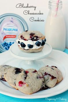 Blueberry Cheesecake Cookies {couponingncooking.com}