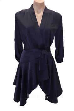 Miss Runway Fashion - Kimono Wrap Satin Dress - Navy
