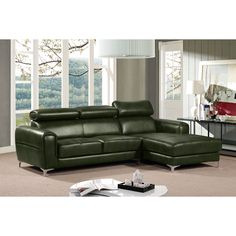 Diamond Sofa Society Rf Chaise Sectional with Adjustable Headrests in Forest Green Leatherette Living Room Sectional, Living Room Seating, Sectional Sofas, Couches, Cool Furniture, Living Room Furniture, Furniture Design, Deep Seat Cushions, Selling Furniture