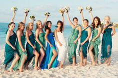 Love the dress style. Cute colors for a beach wedding.