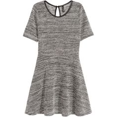 H&M Jersey dress ($23) ❤ liked on Polyvore featuring dresses, dark grey marl, dark gray dress, short sleeve jersey dress, h&m, short sleeve dress e button dress