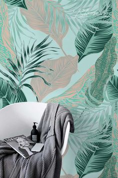 Removable wallpaper - Exotic Palms Wallpaper - Exotic Wallpaper - Tropical Wallpaper- Wall Covering Wallpaper - Temporary Wallpaper - Mural by BloomsyWallpapers on Etsy https://www.etsy.com/uk/listing/527143610/removable-wallpaper-exotic-palms