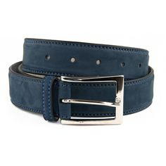 Navy Italian Nubuck Leather Belt