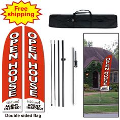10ft Real Estate Open House Feather Banner Flag - INCLUDED CARRY BAG, POLE KIT, and HARDWARE - LIMITED TIME OFFER