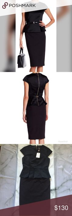 NWT Ted Baker Midi Peplum Bodycon Black Dress Sz10 This is a new with tags Ted Baker midi dress. It is a Ted Baker size 4 which is equivalent to a US size 10. This dress is missing the belt that is seen in the first picture. Make me an offer today! Ted Baker London Dresses Midi