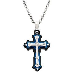 Chained cross silver leather cords yellow gold over sterling silver black blue diamond cross necklace christian necklace for 9199 c28 mozeypictures Choice Image