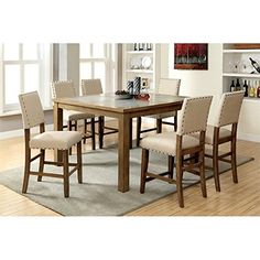 Furniture of America Spier 7 Piece Counter Height Dining Set