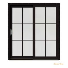 JELD-WEN Black Prehung Right-Hand Clad-Wood Sliding Patio Door with Lite Grids is engineered for superior performance and energy efficiency. Sliding Patio Doors, Sliding Windows, Sliding Glass Door, Black Windows, Black Doors, Exterior Doors, Interior Paint, White Paints, Diys