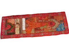 Red Sequin Table Runner Sari Patch Embroidered by MOGULGALLERY