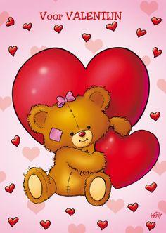 ♥Kaartje2go - Valentijnskaarten - valentijn 4 beertje met 2 grote harten