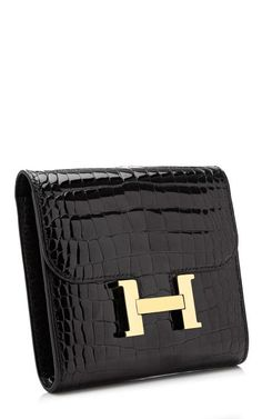 Hermes Black Shiny Alligator Constance Wallet by Heritage Auctions Special Collections for Preorder on Moda Operandi