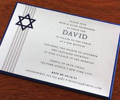 contemporary star of david letterpress bar mitzvah event invitation by invitations by ajalon