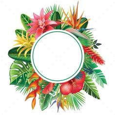 Round Frame From Tropical Plants and Flowers  Vector EPS. Download: graphicrive