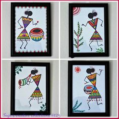 Diy art paintings how to make ideas Worli Painting, Fabric Painting, Painting Gallery, Madhubani Art, Madhubani Painting, Diy Art Projects Canvas, African Art Paintings, Abstract Paintings, Oil Paintings