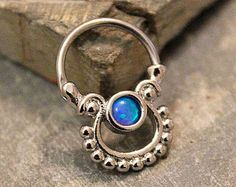 Blue Opal Septum Clicker 16G, Cartilage Ring, Nipple Ring, 316L Surgical Steel Piercing Jewelry