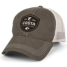 The Costa Del Mar Costa Shield Trucker Hat is designed with embroidered Costa logo across the front with trucker mesh back style. Costa Sunglasses, Sunglasses Shop, Sports Sunglasses, Clothing Consignment Shops, Sweater Pillow, Fish Man, Black Tree, Hoodie Pattern, Boat Stuff