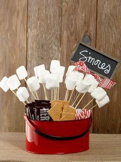 I think I will have a Smores station at our wedding. I like this simple display idea. Utensil Holder Red Enamel 11x7in