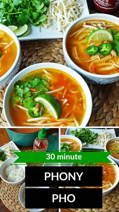 This is your quick and easy pho that tastes like you've been working on it for hours. It has all of the flavor of a traditional pho but made in less than 30 minutes. What is pho? It's a Vietnamese Chicken Noodle Soup that is full of spices. It can be made gluten free. It's a family favorite dinner!