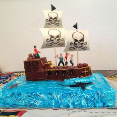 Pirate ship cake Pirate Ship Cakes, Cake Decorating, Birthday Cake, Desserts, Food, Tailgate Desserts, Deserts, Birthday Cakes, Essen