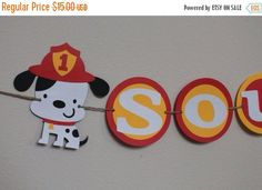 SALE // Birthday party name banner fire dog by pinktreepapers