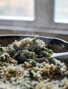 so perfect for thanksgiving: Lightened Up Fresh Green Bean Casserole I howsweeteats.com