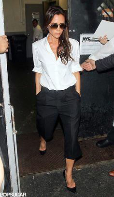 Victoria Beckham white shirt black pants