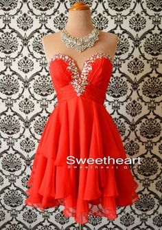 Orange A-line Strapless Short Prom Dresses, Homecoming Dress from Sweetheart Girl
