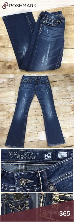 "Miss Me Boots Cut Jeans Miss Me Brand Boot Cut Jeans in stretch material with distressed design and rhinestone stud accent on front pockets.   🌺Inseam: 31"" 🌺Pre-owned, excellent condition. Miss Me Jeans Boot Cut"