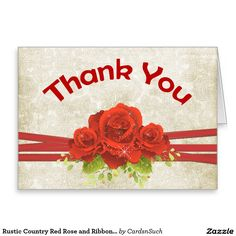 Rustic Country Red Rose and Ribbon Thank You Card