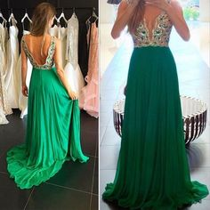 Pd71011 Charming Prom Dress,Chiffon Prom Dress, Beading Prom Dress,Backless Evening Dress