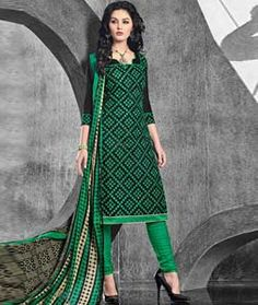 Buy Black Cotton Unstitched Churidar Suit 73409 online at lowest price from huge collection of salwar kameez at Indianclothstore.com.