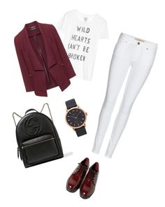 """""""red&white😍😍😍"""" by belchaima ❤ liked on Polyvore featuring Forever 21, Zoe Karssen, Manon Baptiste, Burberry, Gucci and Marc Jacobs"""