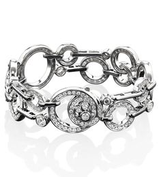Large Roulette White Gold and Diamond Bracelet. 18ct white gold with diamonds. Boodles