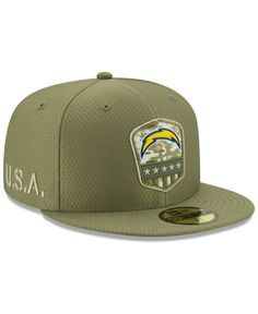 Los Angeles Chargers New Era 2019 Salute to Service Sideline Fitted Hat - Olive Nfl Salute To Service, Charitable Contributions, New Era 59fifty, New Era Cap, Fitted Caps, Tech Gifts, Sports Fan Shop, Handbag Accessories, Pumps Heels