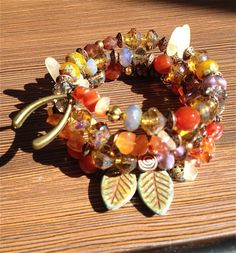 earthy boho bracelet wrap Czech glass beads - Free shipping by fatash1. Explore more products on http://fatash1.etsy.com