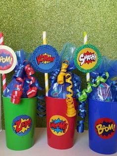 6 Super Hero Filled Cups Birthday Party Favor Avengers Iron Man DC Marvel Comic #Disney