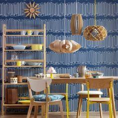 Blue mid-century modern dining room