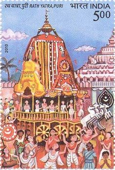 A colorful stamp for my colorful postcards.    India Post, the official postal agency of India, has released a stamp on the world famous Puri Rath Yatra. The beautiful hand-painted stamp has the chariot of Jagannath in it with Vaishnavite saints singing the glory of Jagannath. The stamp is in the denomination of Rupees 5 and is available in all GPOs.    #ridecolorfully