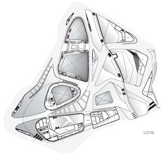 A Zaha Hadid plan, not sure which one. I really need these to figure out how to fit my program together.