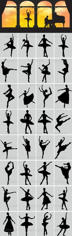 Ballerina Silhouettes - People Characters: Ballerina Sketch, Ballerina Poses, Ballerina Painting, Ballerina Art, Ballerina Illustration, Ballet Poses, Dance Silhouette, Silhouette Painting, Silhouette Drawings