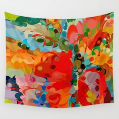 color bubble storm Wall Tapestry. #abstract #vector #digital #pop-art