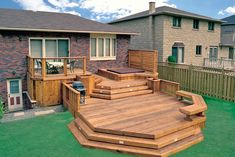 This 3 level clear cedar deck was built by Hickory Dickory Decks in Stoney Creek in the early 1990,s. The spa is cut into one deck.
