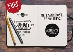 Sunday – hand-drawn free font by Anastasia Dimitriadi from Greece  http://fontfabric.com/sunday-font/