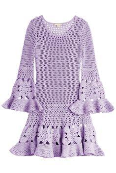 – Winter Wardrobe Refreshers – Crochet, een prominente lente-run … Purple Long Sleeve Dress, Long Sleeve Fitted Dress, Dress Long, Fitted Dresses, Purple Dress, Cotton Dresses, Cotton Crochet, Knit Crochet, Beach Dresses