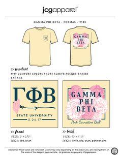 JCG Apparel : Custom Printed Apparel : Gamma Phi Beta Pink Carnation Ball T-Shirt #gammaphibeta #formal #carnation #pinkcarnationball