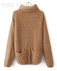 US$27.99 Smart Turtle Collar Camel Long Sleeves Pure Color Sweater. #Sweaters #Collar #Turtle #Sweater